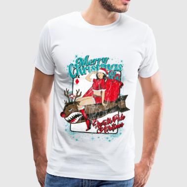 NORTH POLE AIRLINES - Kerstmis pin-up bom - Mannen Premium T-shirt