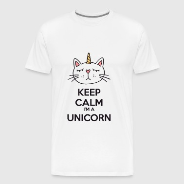 Keep calm chat licorne - Mannen Premium T-shirt