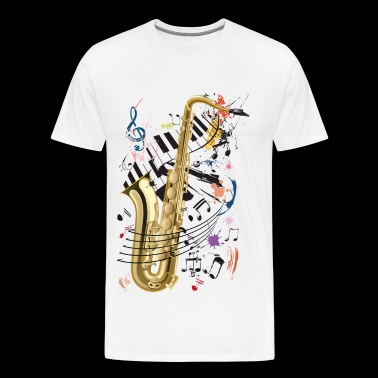 Sax, piano et notes - T-shirt Premium Homme