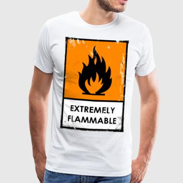 Chemical risk symbol. Flammable - Men's Premium T-Shirt