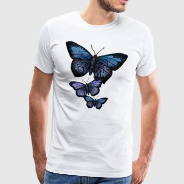 Butterfly Animal Vintage Flying Flowers Retro - Premium T-skjorte for menn