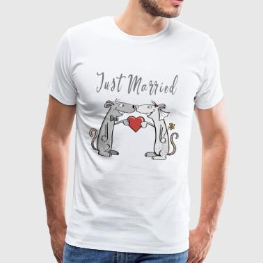 Just Married - Wedding - Newlyweds - Love - Fun - Men's Premium T-Shirt