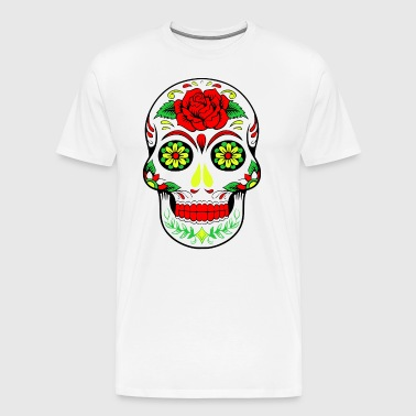Rainbow Flower Hippy Skull Design - Men's Premium T-Shirt