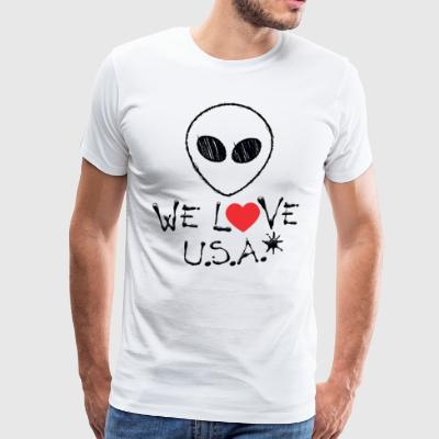 WE LOVE USA - Alien - Mannen Premium T-shirt