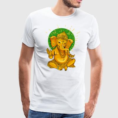 Ganesha gold2 elephant yoga meditation shanti namas - Men's Premium T-Shirt