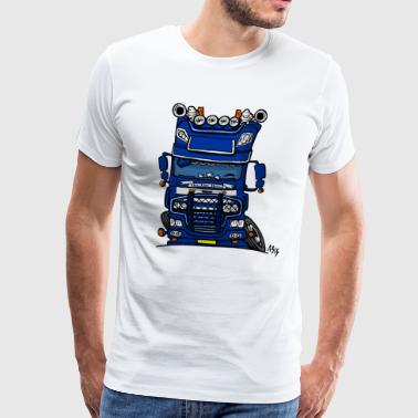 0613 daf fx on the road blauw - Mannen Premium T-shirt