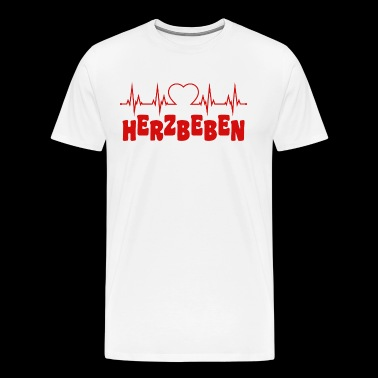 Heart beat with heart and heart quake writing in red - Men's Premium T-Shirt