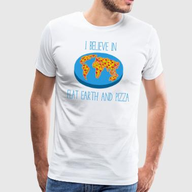Flat Earth and Pizza - Men and Women T-Shirt - Men's Premium T-Shirt