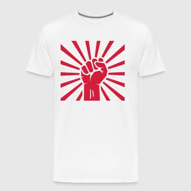 Red clenched fist with rays. - Men's Premium T-Shirt