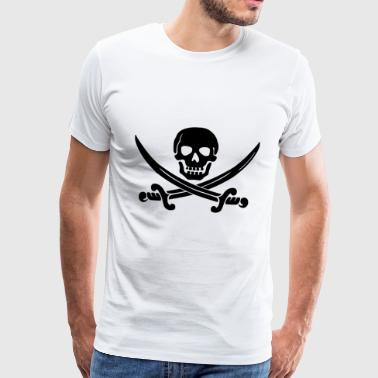 Skull pirat sabel - Premium T-skjorte for menn