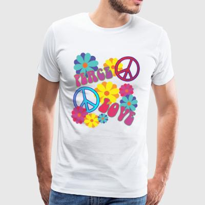 älskar fred hippie flower power - Premium-T-shirt herr