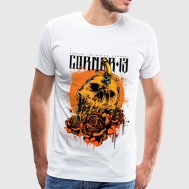ORANGE SKULL & ROSES - Herre premium T-shirt