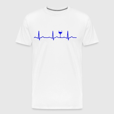 ECG HEARTBEAT WINE blue - Men's Premium T-Shirt