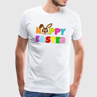Hoppy Easter colorful with bunny bunny brown - Men's Premium T-Shirt