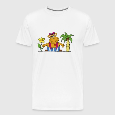 funny hippo with sunflower Hippo hippo - Men's Premium T-Shirt