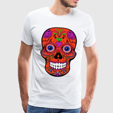Colorful skull with bloody eyeballs Halloween - Men's Premium T-Shirt