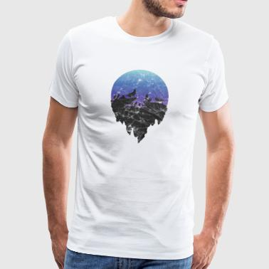 Gift silhouette wolf moon howling pack moon - Men's Premium T-Shirt