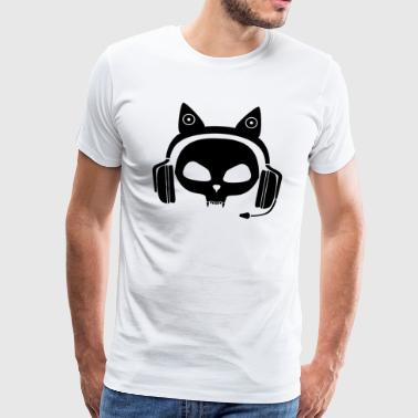 Gamer Skull Cat with Headset (Black) - Men's Premium T-Shirt