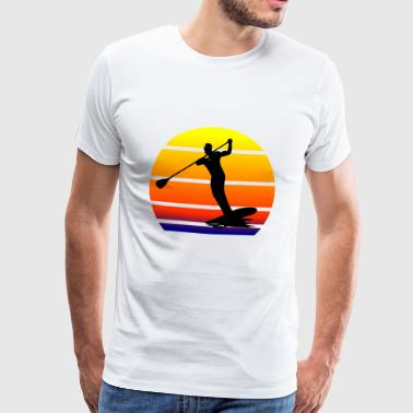 SUP, standup paddling, paddle paddleboard sunset - Men's Premium T-Shirt