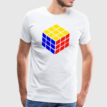 blue yellow red rubik's cube print - Men's Premium T-Shirt
