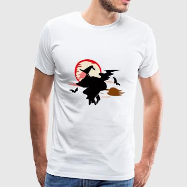 Flying witch circled by bats - Men's Premium T-Shirt
