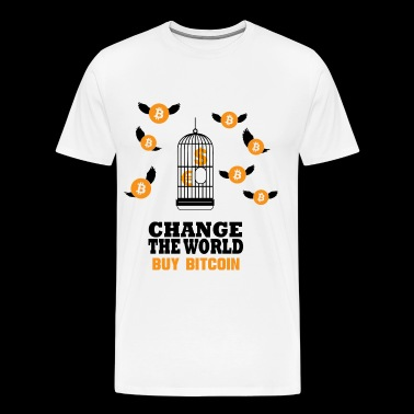 Bitcoin BTC Change the World - Cryptocurrency - Men's Premium T-Shirt