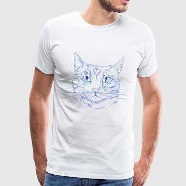 Cat blue sketch - Men's Premium T-Shirt