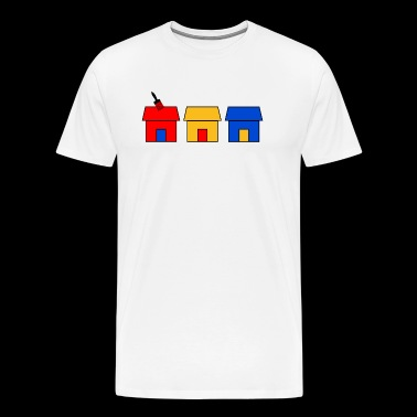 3 houses red yellow blue with brush - Men's Premium T-Shirt