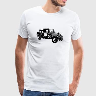 Pickup Classic Car 01_schwarz - Premium T-skjorte for menn