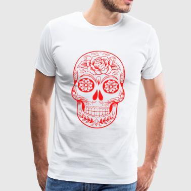 red skull, decorated with flowers - Men's Premium T-Shirt
