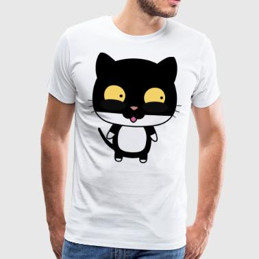 Cat with wide eyes looks left - Men's Premium T-Shirt