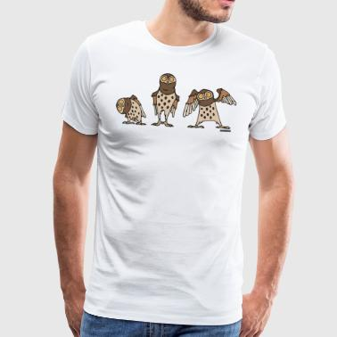 Eulen - Brown - Männer Premium T-Shirt