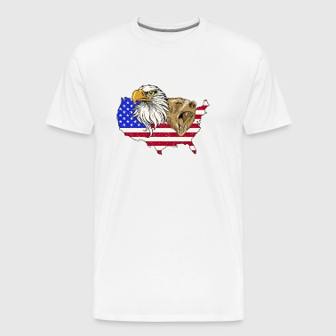 USA America Stars & Stripes Grizzly Bear Eagle wild - Men's Premium T-Shirt