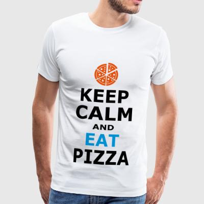 KEEP CALM AND spise pizza - Herre premium T-shirt