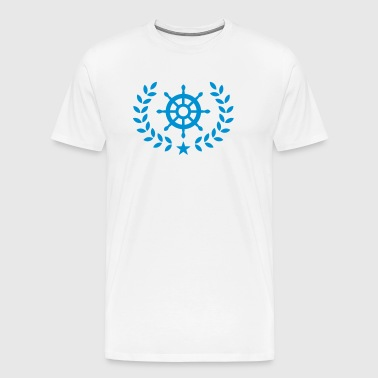 Laurel wreath, ship's wheel, boat, star, yacht,  - Men's Premium T-Shirt
