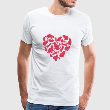 Cat Heart T Shirt - Men's Premium T-Shirt