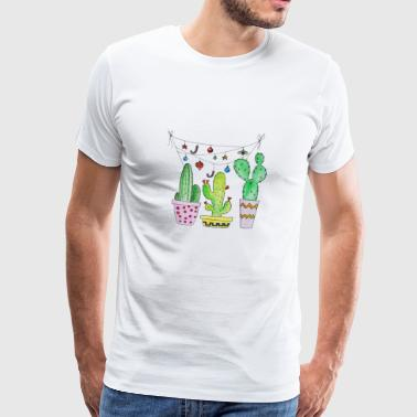 Cactus, cactus, cactus with garland - Men's Premium T-Shirt