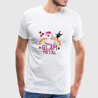 Glam Heavy Metal Unicorn Rainbow hest gave - Premium T-skjorte for menn
