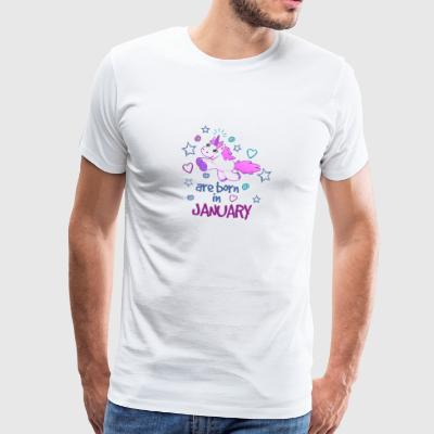Januar - Birthday - Present - Unicorn - Premium T-skjorte for menn