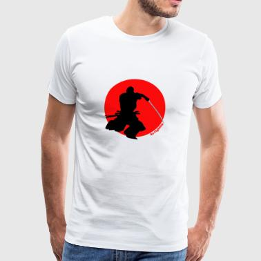 Samurai in de voorkant van de rode zon | Ro-Fighting - Mannen Premium T-shirt
