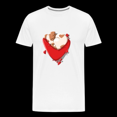 Cute Puppy Love, Puppies and Love Hearts - Men's Premium T-Shirt