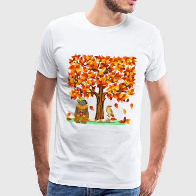Autumn hedgehog Indian summer fall foliage leaves tree - Men's Premium T-Shirt