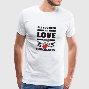 Awesome All You Need is Love and Chocolates Shirt - Men's Premium T-Shirt