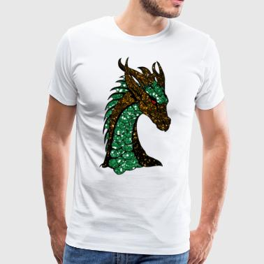 The green gold sparkling dragon - Men's Premium T-Shirt