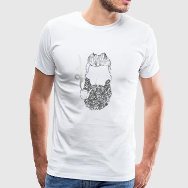 Bearded Guy with Whistle Beard Hipster T-Shirts - Men's Premium T-Shirt
