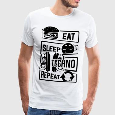 Ät Sleep Techno Repeat - Party Electronic Music - Premium-T-shirt herr
