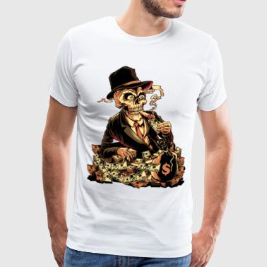 Rich smoking gangster Skull Mafia boss - Men's Premium T-Shirt