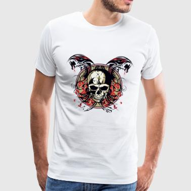 tete de mort dragon crane tribal skull chinois fan - T-shirt Premium Homme