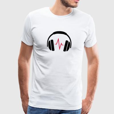 DJ headphones with Beat - Men's Premium T-Shirt