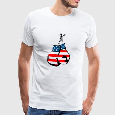 Boxing gloves boxing american flag gift - Men's Premium T-Shirt